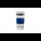 Glas-Thermobecher mit blauer Silikonbanderole